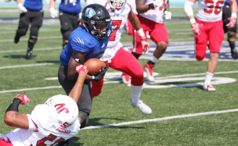 Devin Church breaks a tackle against Austin Peay at O'Brien Field. Church had 139 rushing yards in the game with one touchdown.
