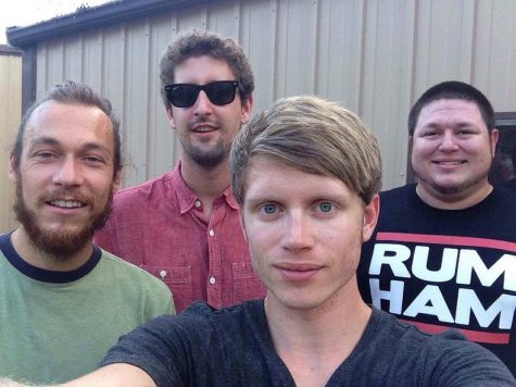 "Members of the band ""The Monolithic,"" Paul Beckmeyer (left), Hunter Beattie (back center), Chris Chamness (front center), and Shayne Cordevant (right), posing for a selfie. The band will perform at 9:30 p.m. Friday at Mac's Uptowner."