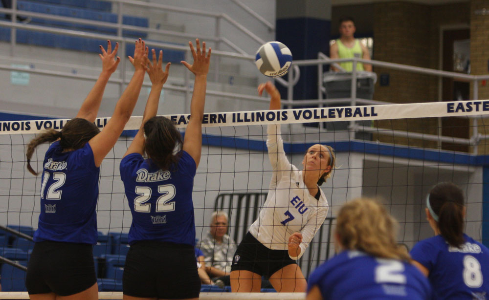Sophomore outside hitter Taylor Smith kills the ball against Drake Friday night at Lantz Arena. The Panthers lost the match, 3-1.