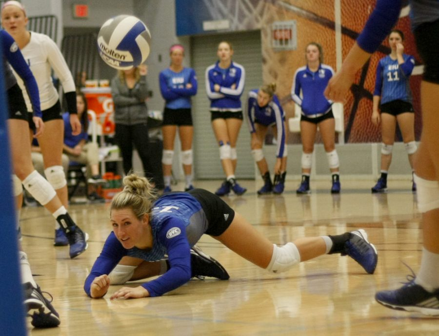 Maria Brown attempts a dig Saturday against Murray State at Lantz Arena. The Panthers lost the match 3-0 to move their record to 4-17 on the season.