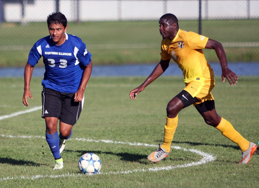 Freshman forward Alex Castaneda looks for an open teammate during the Panthers' 3-0 loss to Valparaiso Sept. 27 at Lakeside Field. Castaneda had 1 shot on goal during the match.