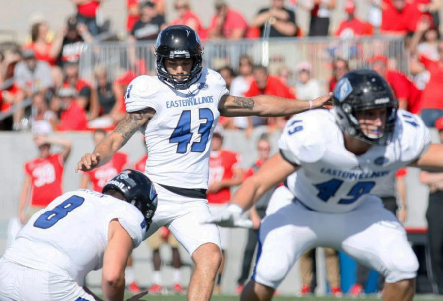 Junior+kicker+Nick+Bruno+kicks+a+field+goal+against+Illinois+State+at+Hancock+Stadium+Sept.+17.+Bruno+was+3-4+on+field+goals+Saturday+vs.+Tennessee+Tech.