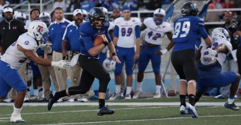 Redshirt junior quarterback Mitch Kimble rushes past Tennessee State defenders Saturday, Oct. 8. Kimble carried the ball seven times for 34 yards and a touchdown in the 35-34 loss.