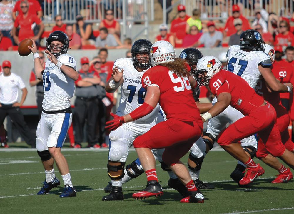 Redshirt junior quarterback Mitch Kimble fires a pass during the Panthers' 24-21 win Saturday, Sept. 17, at Hancock Stadium.