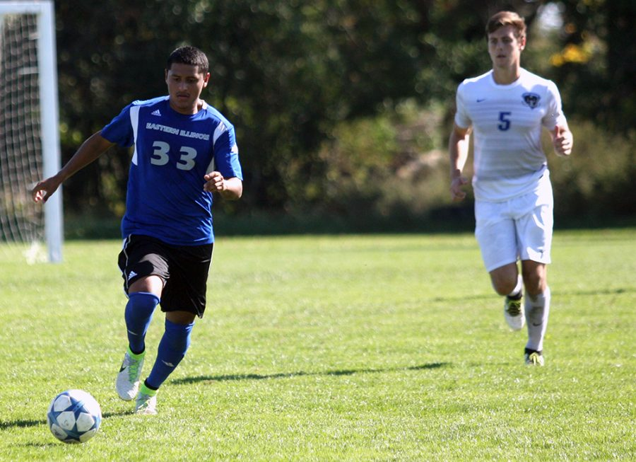 Freshman forward Alex Castaneda moves the ball downfield during the Panthers' 1-0 win against Fort Wayne Sunday at the west practice field. Castaneda scored Eastern's lone goal as the team earned its first Summit League win of the season.