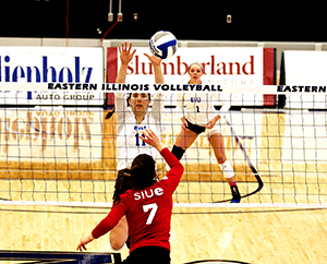 Abby Knight goes up for a block against SIUE Wednesday night at Lantz Arena. Eastern lost the match 3-0.