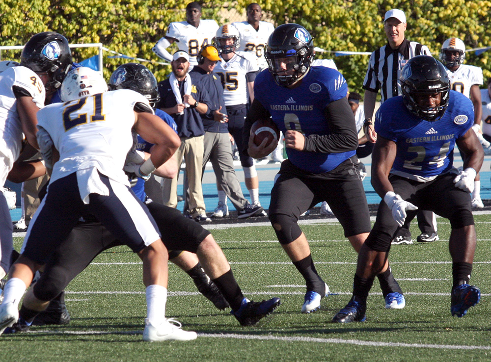Redshirt sophomore quarterback Bud Martin runs the ball during the Panthers' 40-38 Homecoming loss Saturday to Murray State at O'Brien Field.