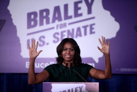 "First Lady of the United States Michelle Obama speaking at an ""Iowa Votes Rally"" for U.S. Senate candidate Bruce Braley."
