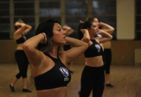 Giavanna Desai, along with her fellow Pink Panthers, rehearses for homecoming weekend performances during an emergency practice Tuesday in McAfee Gym.