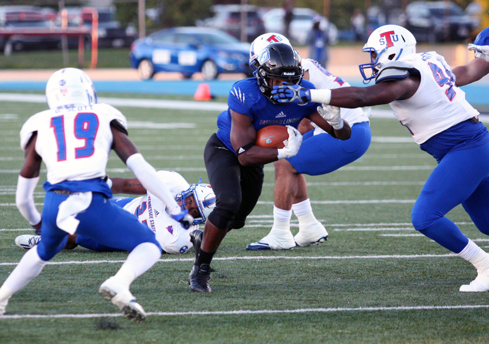 Redshirt senior running back Devin Church runs a play during the Panthers' 35-34 win against Tennessee State Saturday, Oct. 8, at O'Brien Field. The Panthers will take on Tennessee-Martin at 1 p.m. Saturday.