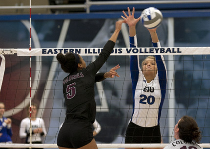 Freshman outside hitter Katie Sommer goes up for the block during the Panthers' 3-2 loss to Eastern Kentucky on Friday, Oct. 14, n Lantz Arena.