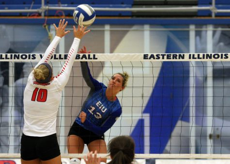 Junior outside hitter Maria Brown kills the ball past a Southeast Missouri opponent during the Panthers' 3-0 loss to the Redhawks Saturday in Lantz Arena.