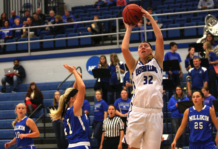 Freshman+Jennifer+Nehls+goes+up+for+a+layup+Friday+against+Millikin+at+Lantz+Arena.+Nehls+scored+12+points+in+the+season+opening+97-54+win.