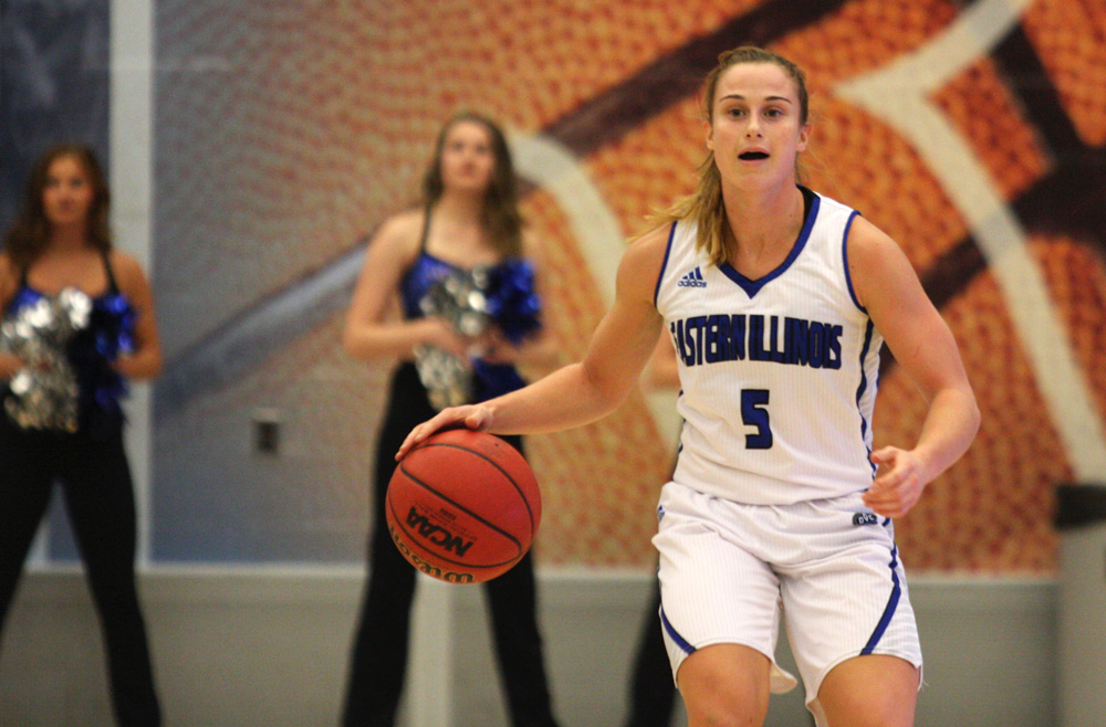 Junior gaurd Grace Lennox looks for an open teammate Friday at Lantz Arena in the Panthers season opening 97-54 win over Millikin.