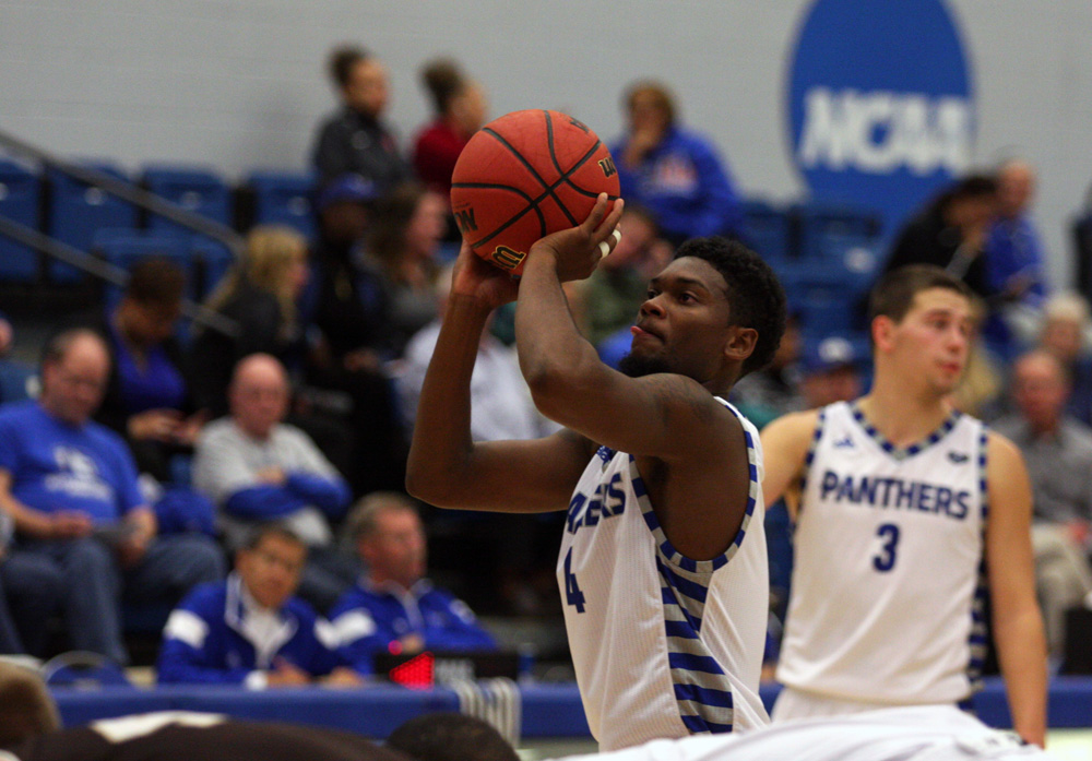 Junior guard Montell Goodwin shoots a free throw during the Panthers' 83-41 win over St. Francis Friday, Nov. 11, in Lantz Arena. Goodwin made 1 of 2 free throws during the game.