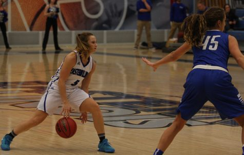 Junior Grace Lennox dribbles the ball while she scans the floor for a open teammate Monday against Indiana State at Lantz Arena. Lennox finished with 16 points in the 88-61 loss.