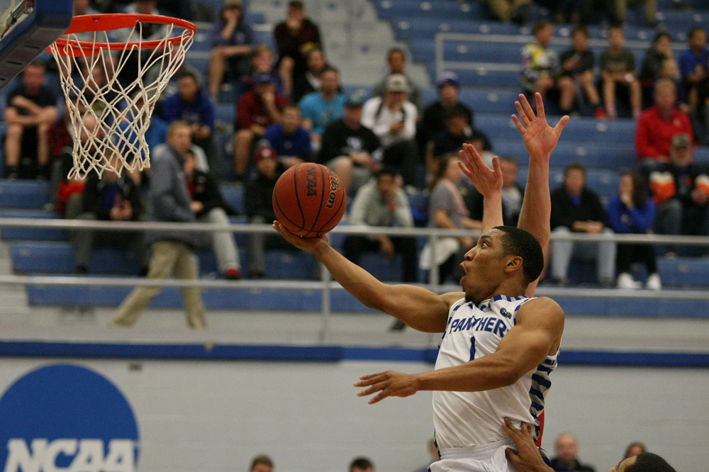 Senior Demetrius McReynolds goes up for a layup Tuesday against Bradley at Lantz Arena. McReynolds led all scorers with 25 in the Panthers 87-83 loss to the Braves.