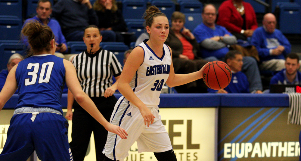 Freshman Allison Van Dyke dribbles the ball Monday against Indiana State at Lantz Arena. Van Dyke scored seven points shooting 3-9 from the field and 1-2 at the free throw line, she also hauled in four rebounds in Eastern's 88-61 loss.