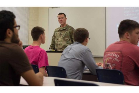Master Sgt. Jack L. Robison teaches an Introduction to Critical Thinking class to ROTC Cadets in Klehm Hall Monday afternoon.