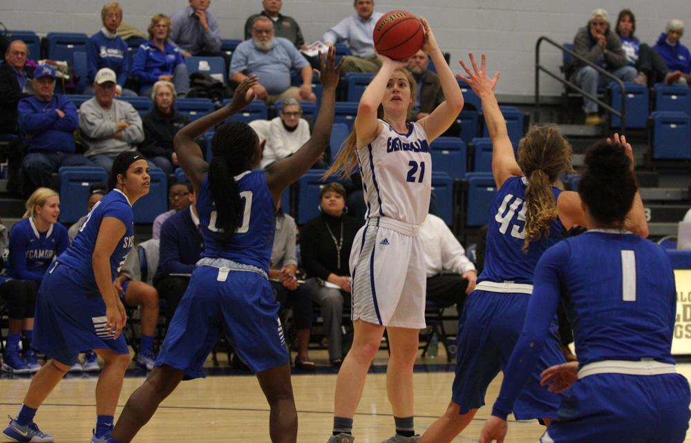 Sophomore Halle Stull attempts a shot against four Indiana State defenders Monday in Lantz Arena in the Panthers' 88-61 loss.