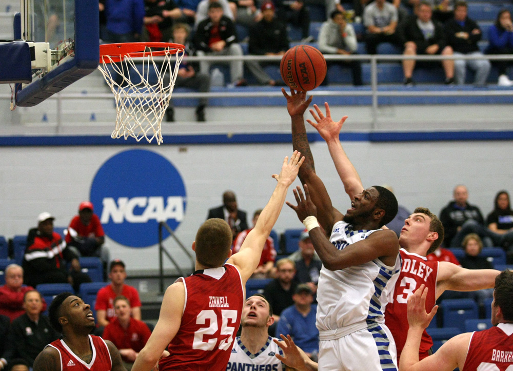 Junior wing Ray Crossland goes up for the basket during the Panthers' loss to Bradley on Tuesday in Lantz Arena.