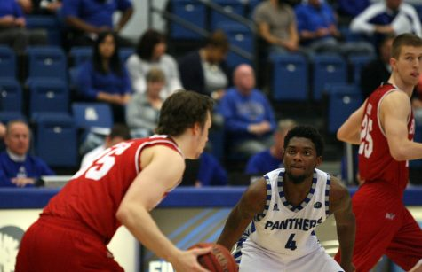 Junior guard Montell Goodwin defends Bradley's Jayden Hodgson during the Panthers' 87-83 overtime loss in Lantz Arena.