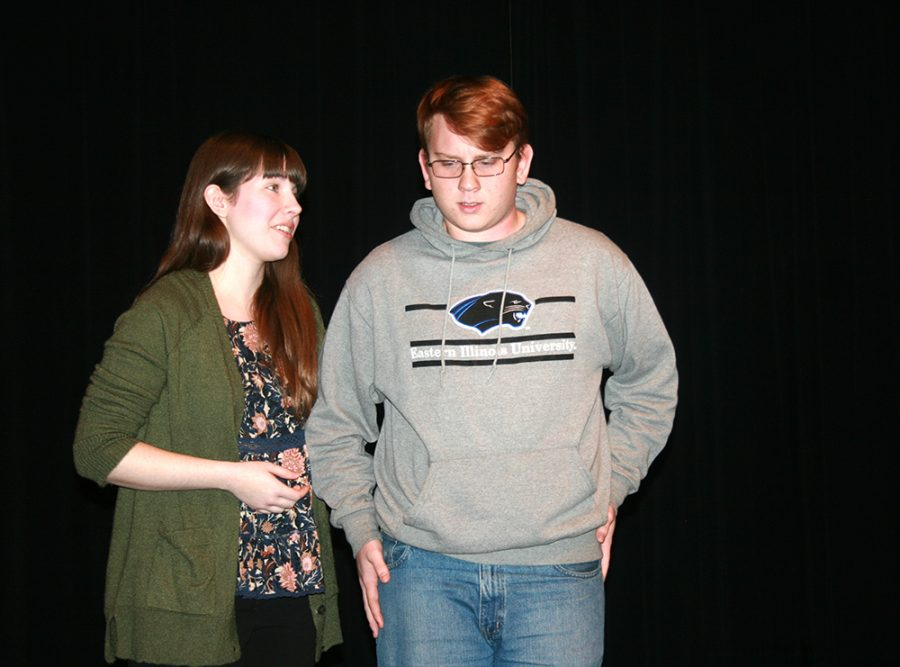 Terr, played by Autumn Frykholm, a junior, secondary english language arts major, discusses the death of her husband with Tom, played by Cullen Scurlock, sophmore chemstry education major during a practice for the play After in the doudna on thursday night.
