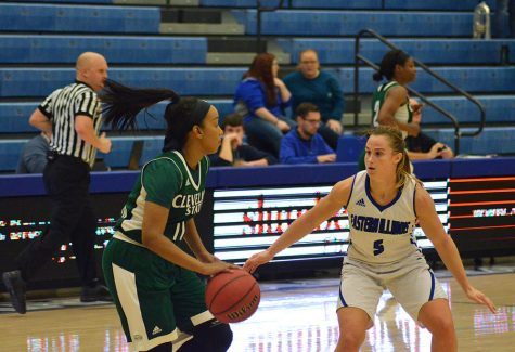 Junior guard Grace Lennox defends against a Cleveland State's Khayla Livingston Wednesday in Lantz Arena. The Panthers lost 66-56, and Lennox led the Panthers with 15 points.