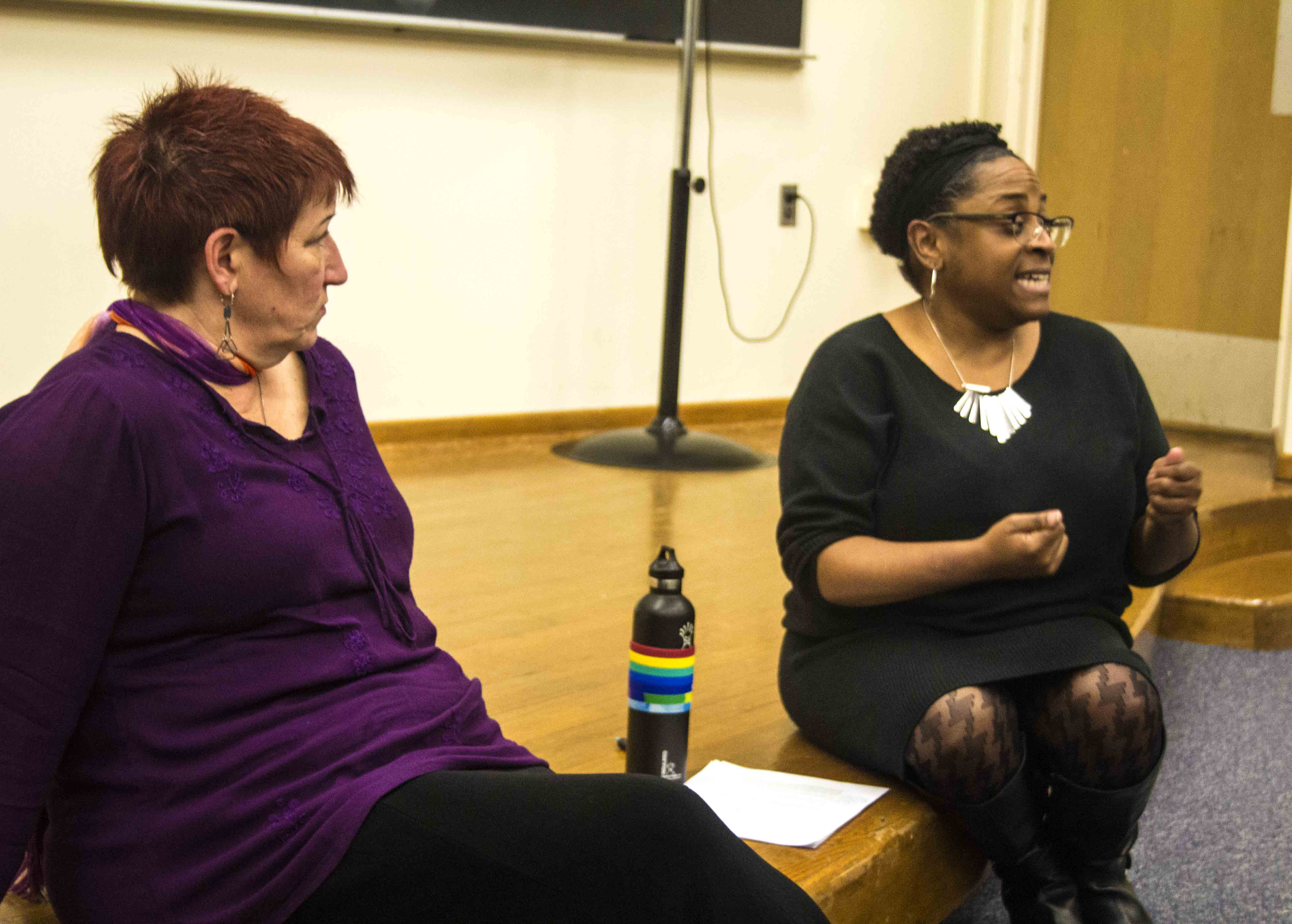 Jeannie Ludlow, a professor of women's studies and Yolanda Williams, an academic advisor answer questions on abortion at the discussion after the viewing of the film
