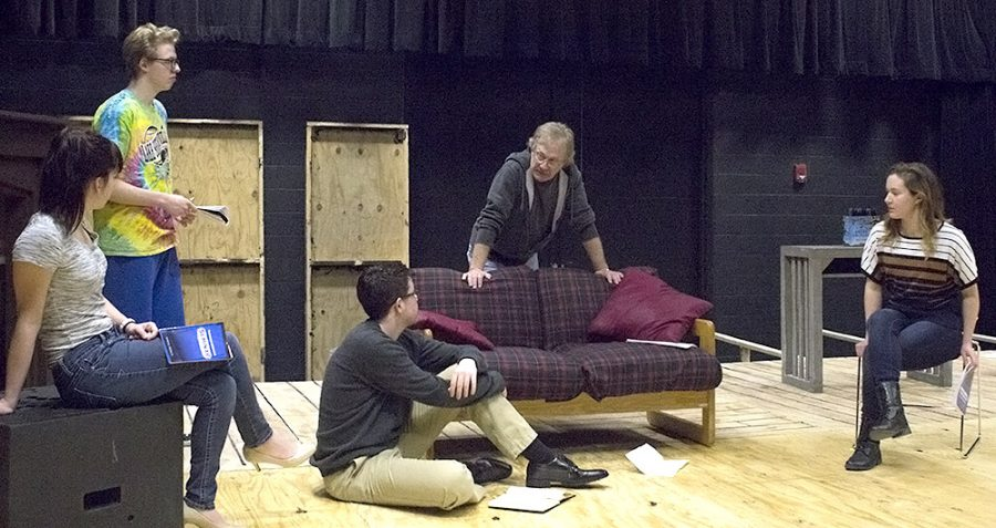 "The cast members of the play ""Seminar"" look to Gary Ambler, center, as they rehearse their lines Tuesday afternoon at the Black Box Theatre in Doudna Fine Arts Center. The cast rehearses six days a week in preparation for the play that begins on March 1."