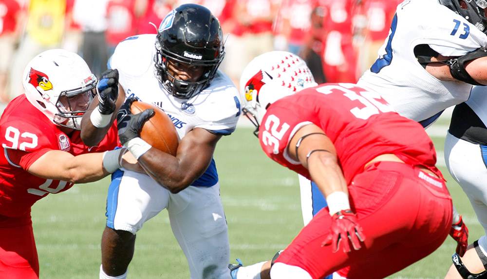 Running back Devin Church looks to elude an Illinois State defender Saturday, Sept. 17 at Hancock Stadium. Church finished the season playing in 11 games, 197 rushig attempts for a total of 1066 yards.