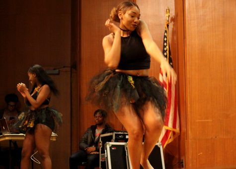 Brianna Torrance, a freshman family consumer sciences major, dances with the African Student Association Wednesday night at the comedy show as part of the kick off for African-American Heritage Month. ASA performed a combination of traditional African and modern dances and opened up for Xclusive the Comedian.