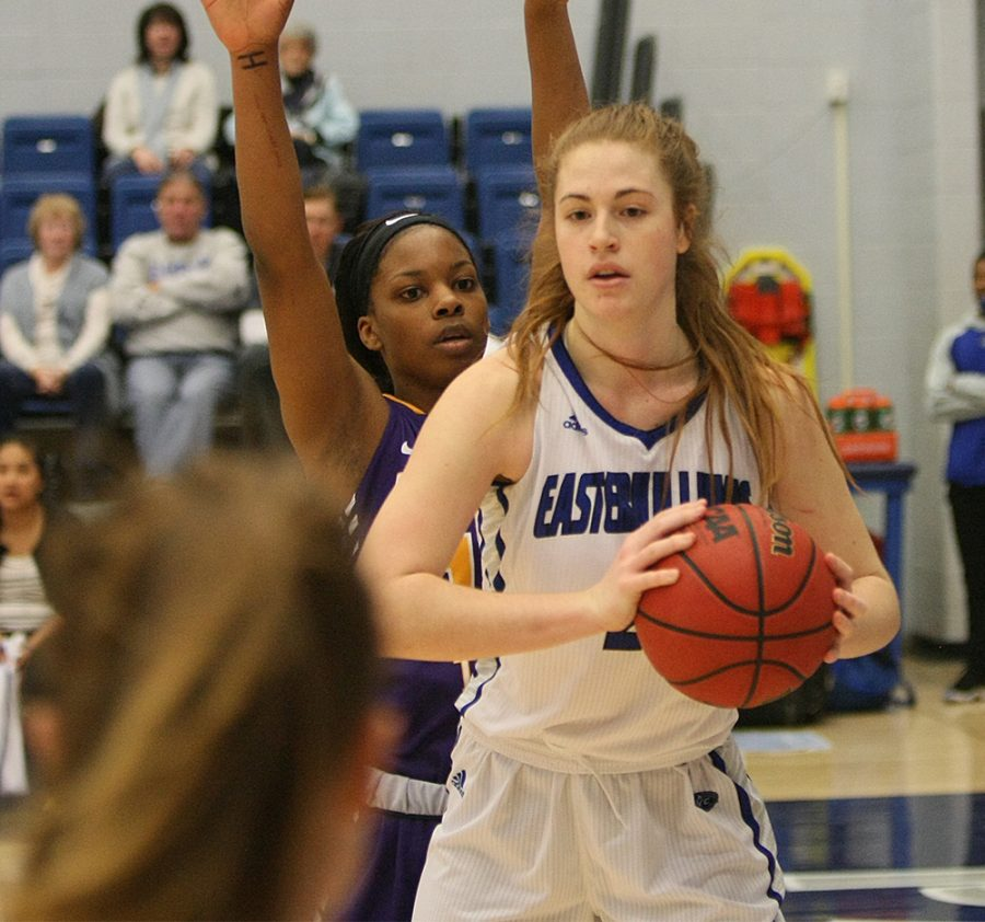 Sophomore+Halle+Stull+grabs+a+rebound+Saturday+at+Lantz+Arena.+Stull+grabbed+6+boards+in+the+Panthers+54-46+win+over.