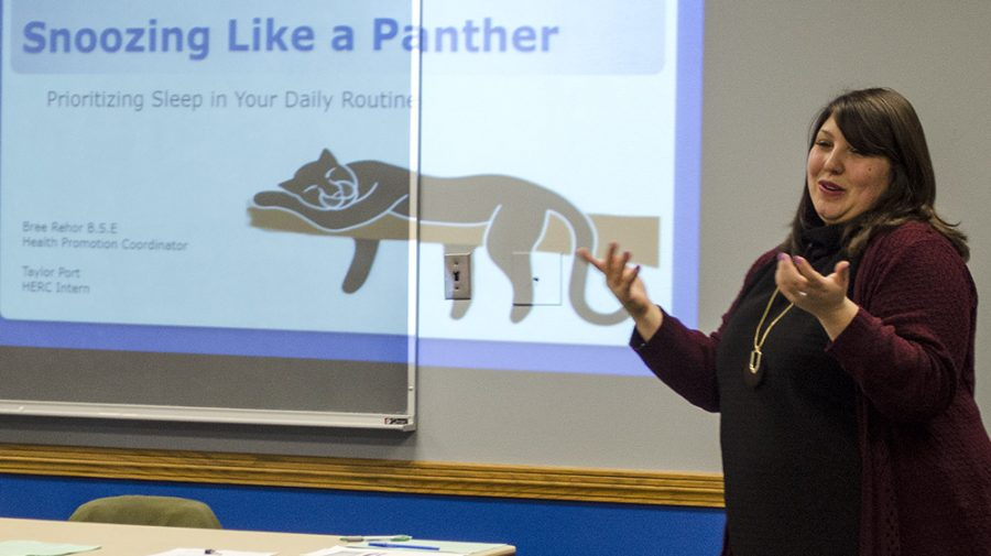 "Bree Rehar, health promotions coordinator at Health Education Resounce Center kicks off the ""Snoozin' Like a Panther"" seminar in the Martinsville room in the Martin Luther King Jr. Union Monday. She educated students on how thier enviroment and health habbits can affect their sleep and then inturn their grades."