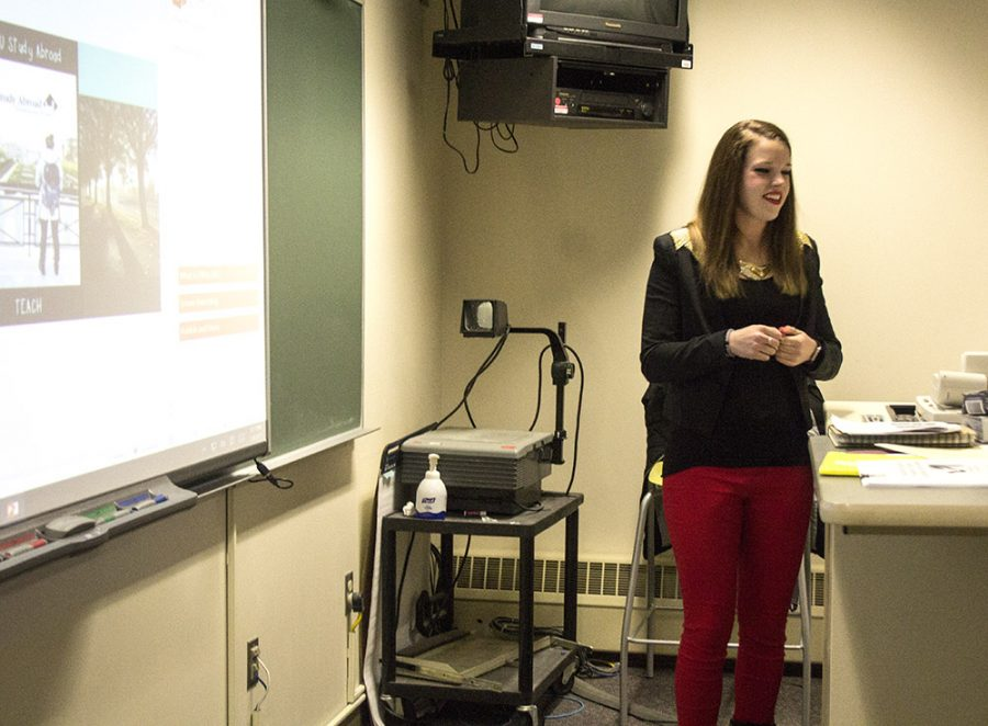 Charity Huwe discusses her travels overseas while student teaching in The Netherlands on thursday night in Buzzard Hall.