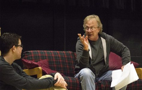 """Gary Ambler, right, rehearses his lines for the play """"Seminar"""" in the Black Box Theatre in the Donna Fine Arts Center."""