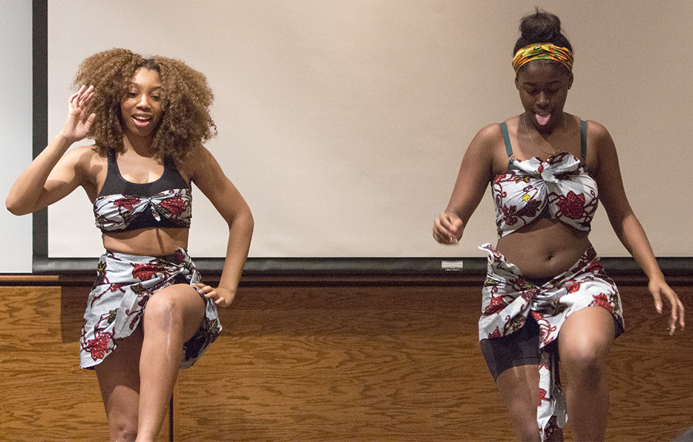 African Student Association dancers perform during The Evolution of a Black Women Wednesday in Lumpkin Auditorium.