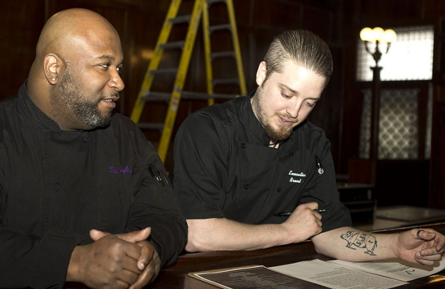 Executive chef Brent Furry and sous chef Nathan Douglas look over the anticipated menu for Alexander Briggs. The friends, have previous experience working together and are embarking on a journey together in hopes of creating a successful restaraunt in the Charleston area before opening more in surrounding communities.