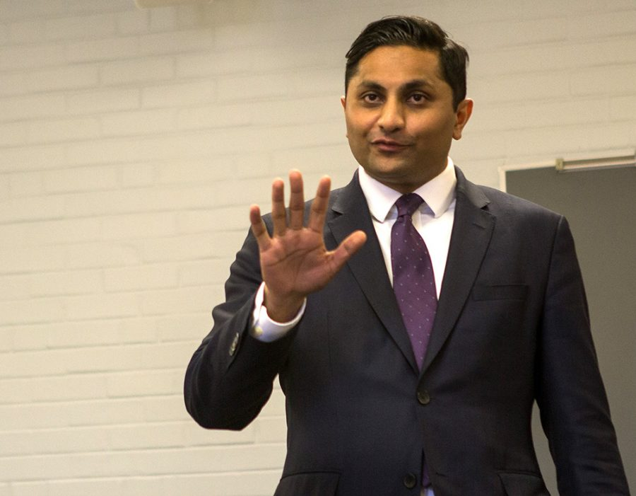 Chicago Alderman Amaya Pawar, who recently announced his bid for democratic nomination for governor, spoke to a room of members of the Eastern community Saturday afternoon.