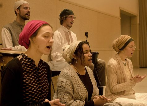 """Meditation band, Ahl-e Qulub performs their unique blend of relaxation music in the Grand Ballroom of the Martin Luther King Union. Ntchana Batoma, said meditative music is used as """"a way of being able to see the beauty and love in everything."""""""