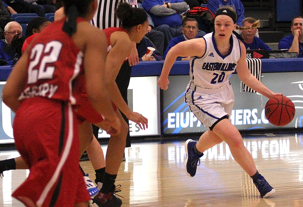 Sophomore Danielle Berry dribbles the basketball at the top of the key Saturday in the Panthers 69-59 loss to Austin Peay at Lantz Arena.
