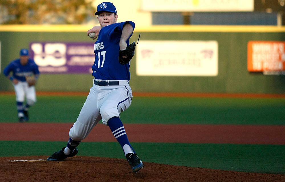 Junior Michael Starcevich Delivers a pitch in the bottom of the ninth Saturday at Tointon Family Stadium. Starcevich picked up the loss giving up two earned runs in one and a third inning of work in game two of the weekend series.