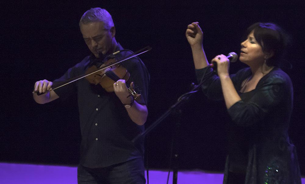 Tom Morrow and Cathy Jordan of  Dervish, a traditional / folk group from Ireland, perform a ballad at the Doudna Fine Arts Center Wednesday. Dervish successfully engaged its audience — a majority were clapping along with the traditional Irish music just before the intermission.