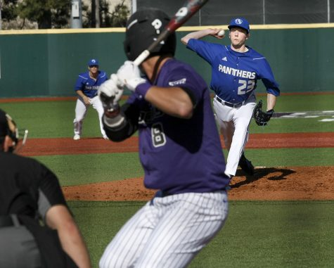 Junior Michael McCormick delivers a pitch Saturday, March 4 at Tointon Family Stadium in Manhattan, Kan. McCormick (0-1, 5.14) starts the middle game of the weekend series for the Panthers.