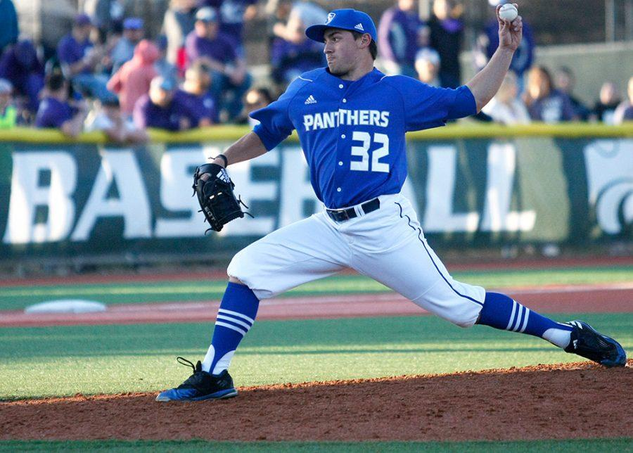 Redshirt sophomore Hunter Clark delivers a pitch against Kansas State University on Saturday, March, 4 in Manhattan, Kan. Clark earned a no decision in Indiana State's walk-off win Tuesday.