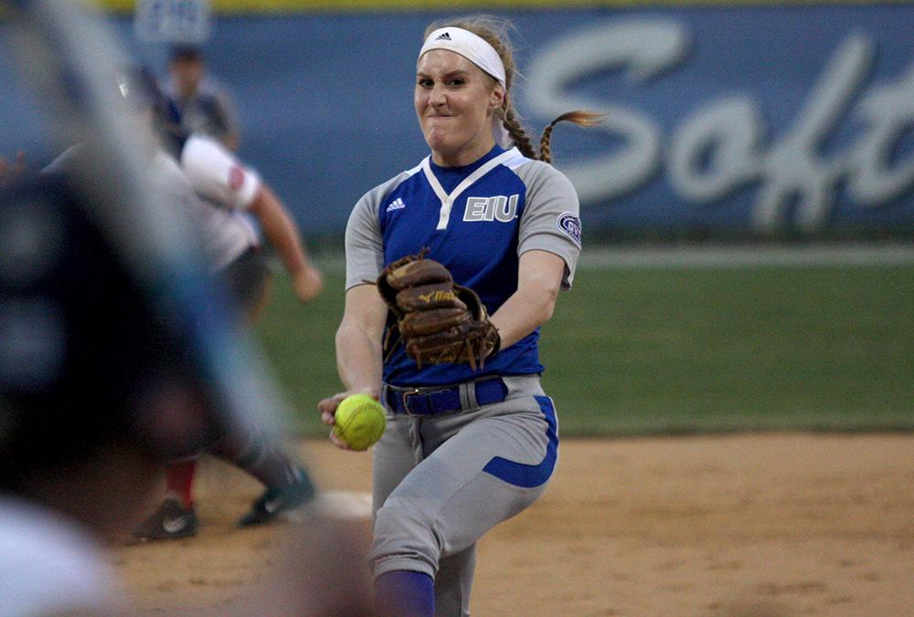 Junior pitcher Jessica Wireman delivers a pitch in the Panthers' 3-1 win against Belmont Friday night. Wireman picked up two wins this weekend.