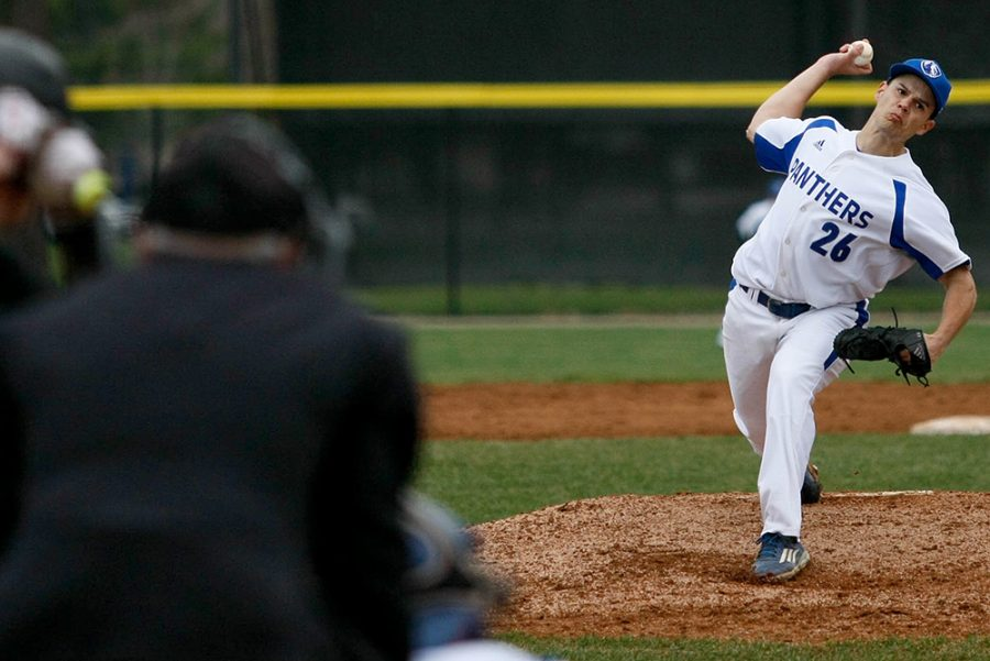 Senior Chase Thurston delivers a pitch to a Southern Illinois University-Carbondale batter Wednesday at Coaches Stadium. Thurston picked up his first win of the season over six innings of work for the Panthers.