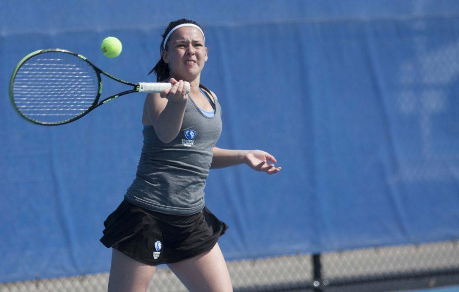 Freshman Emily Pugachevsky returns the ball in her singles match against EKU. Pugachevsky said she plays tennis for the adrenaline rush.