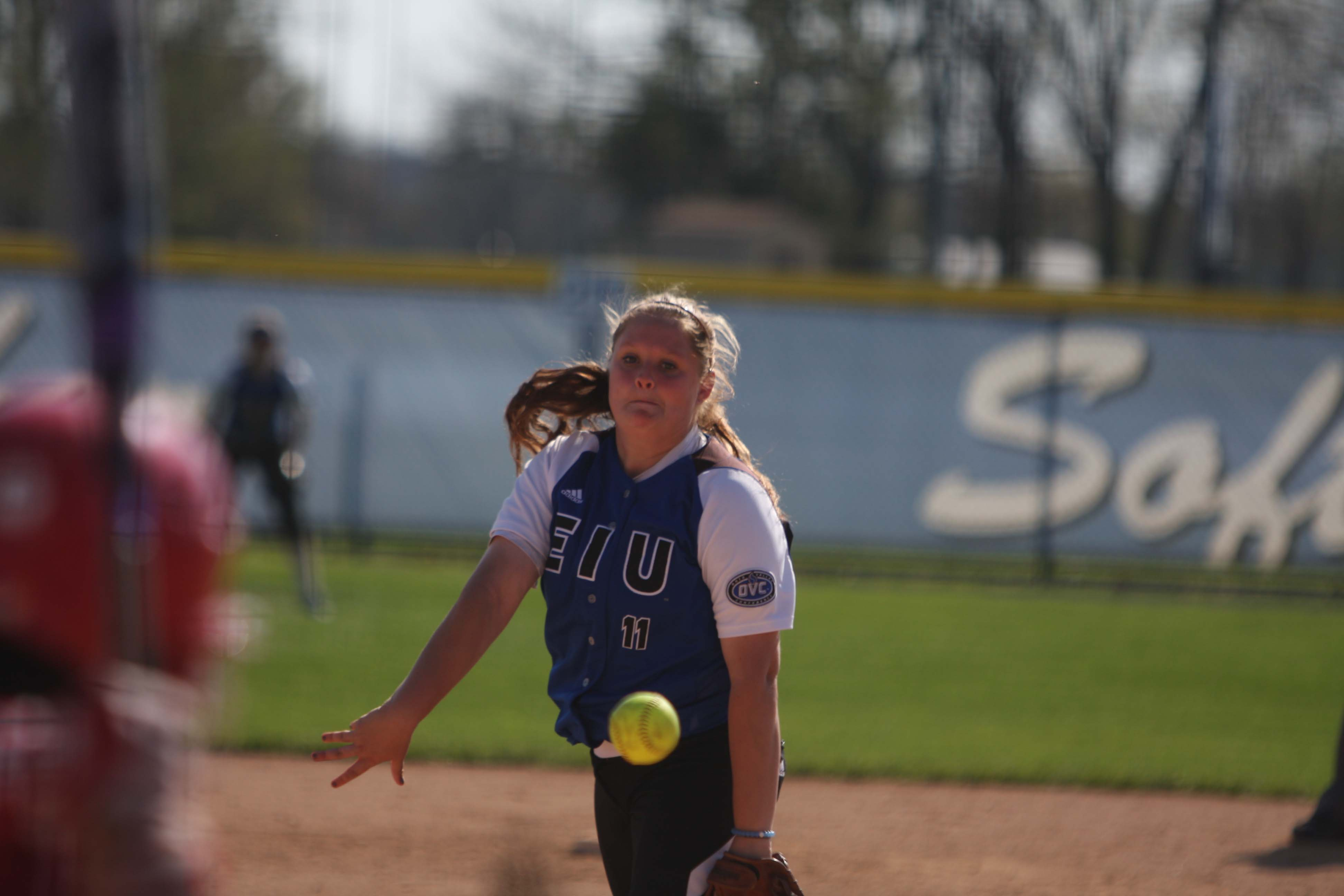 Junior Jessica Wireman throws a pitch last year at  Williams Field.  The Panthers play their first OVC game March 24.