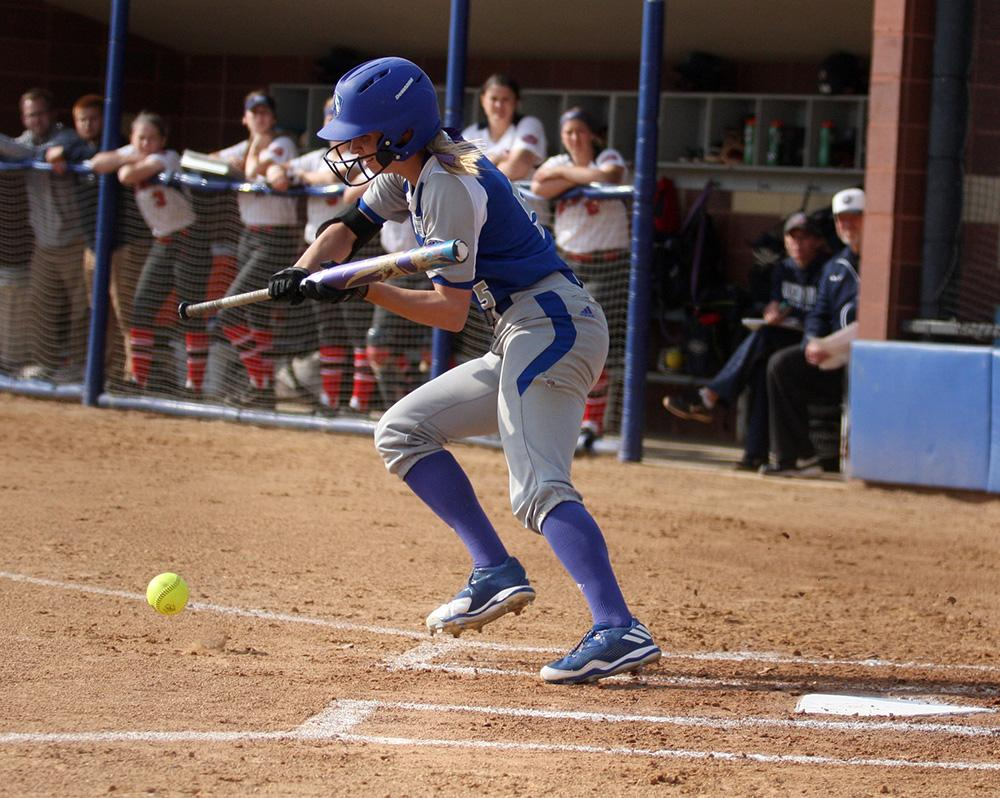 Junior Taylor Monahan lays down a bunt in the Panthers win against Tennessee State Sunday. She is second on the team in stolen bases.